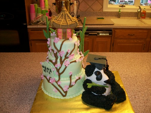 Chinese cherry blossom panda and Pagoda graduation cake