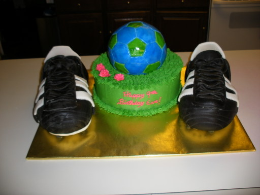 soccerball cake with cleats